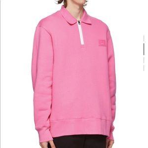 Acne Studios Pink Quarter Zip Oversized Sweatshirt